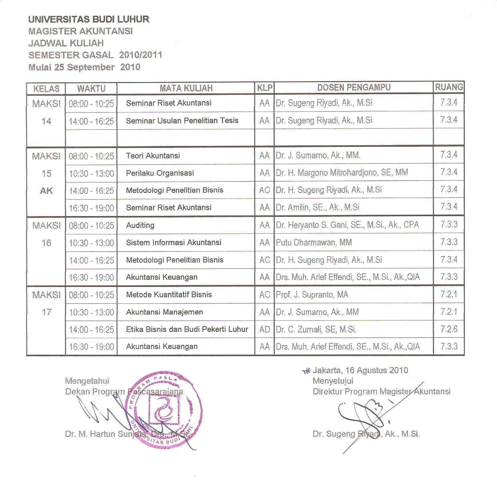 Jadwal Kuliah Program Magister Akuntansi (MAKSI) Klik di sini
